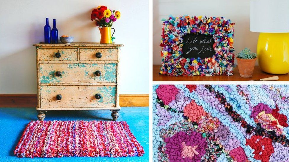 Collage image showing rag rug, rag photo frame and close-up of the technique