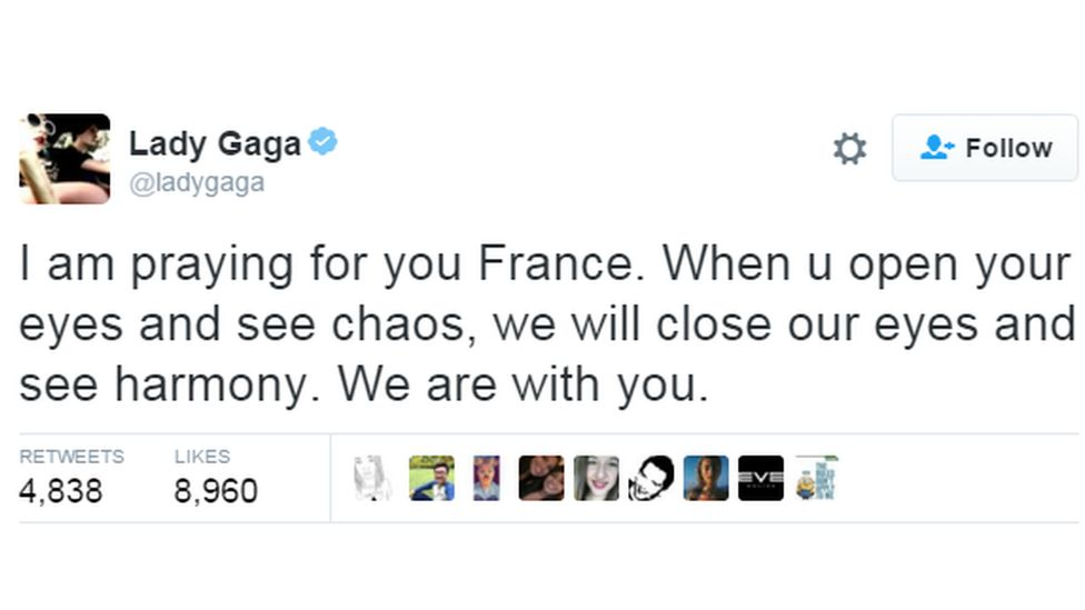 """I am praying for you France. When u open your eyes and see chaos, we will close our eyes and see harmony. We are with you."""