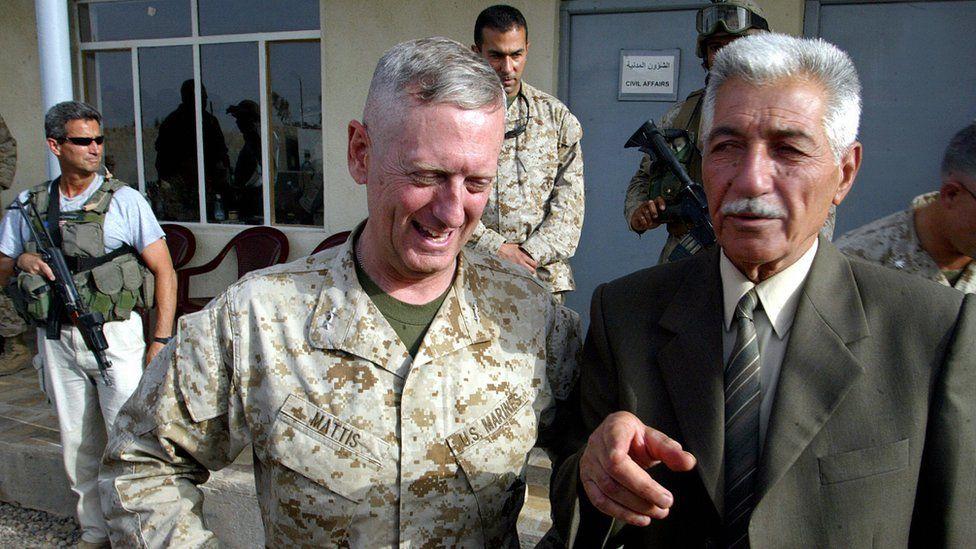 Iraqi General Mohammed Latif (R), head of the Fallujah Brigade, gestures as he stands near US Marines General James Mattis in May 2004.