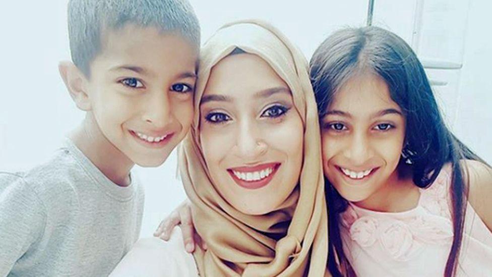 Rabiya Limbada with her children Muhammad and Hanaa
