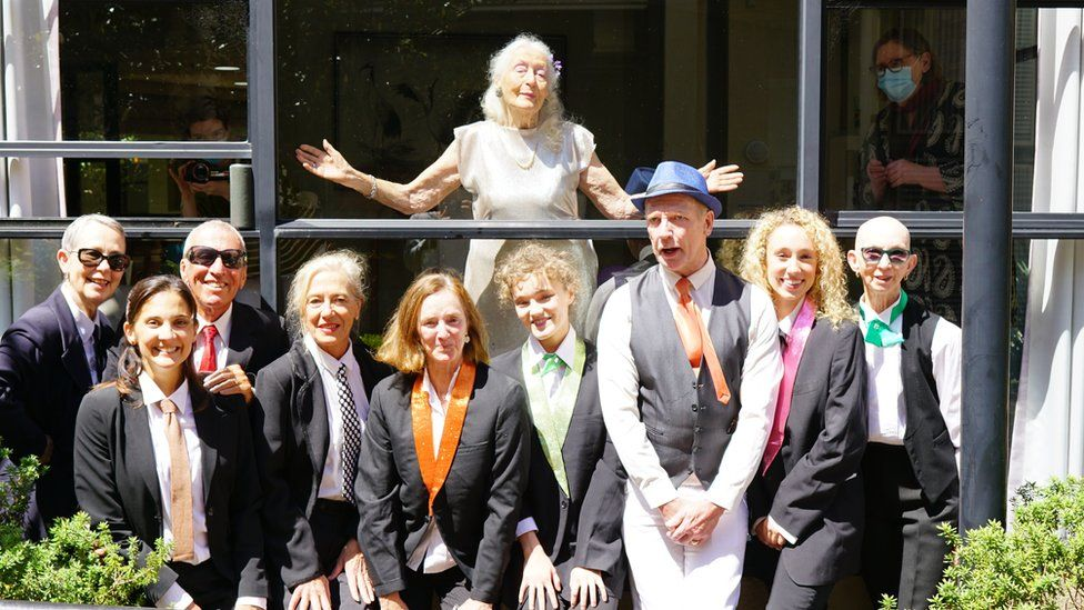 Eileen Kramer and friends at her 106th birthday party