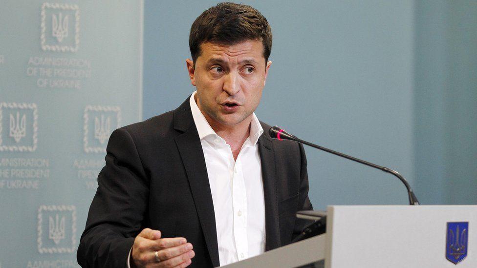 President Zelensky speaks during a press conference on 1 October