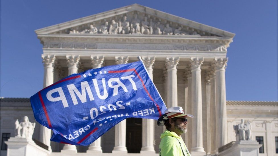 Pro-Trump protester outside US Supreme Court, 11 December 2020