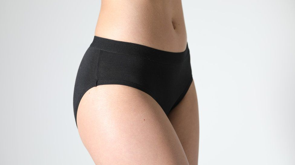 Promotional shot showing pair of Giggle Knickers on a model