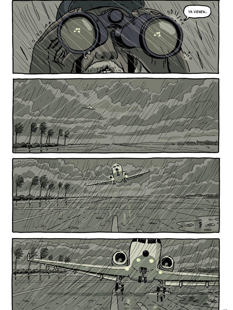 One strip illustrates a plane landing