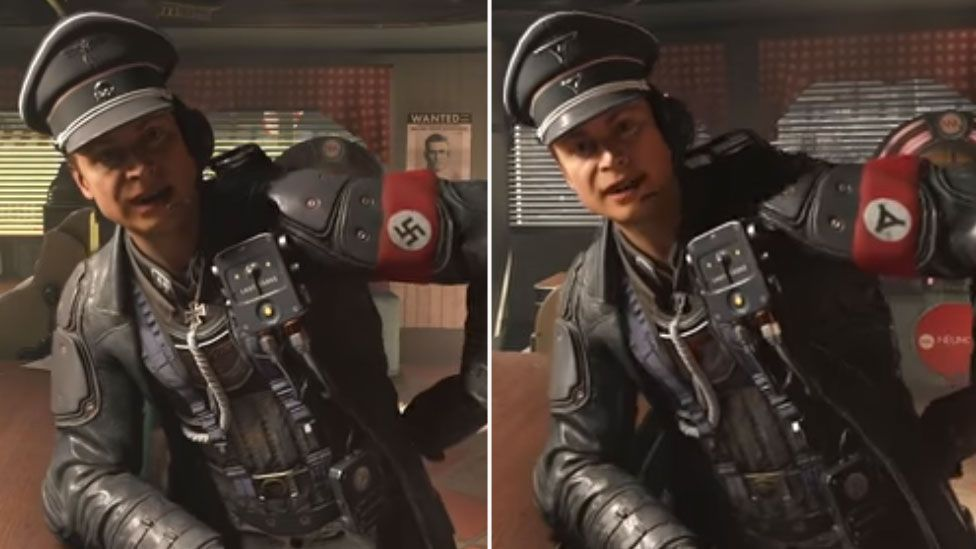 A pair of screenshots from Wolfenstein II: The new Colossus. On the left, a German solider is shown wearing his swastika armband. On the right, in the German release, the swastika has been replaced with a triangular icon