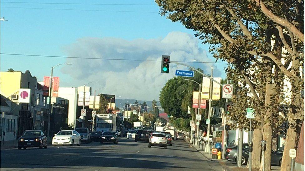 Smoke seen from Hollywood looking west towards Malibu