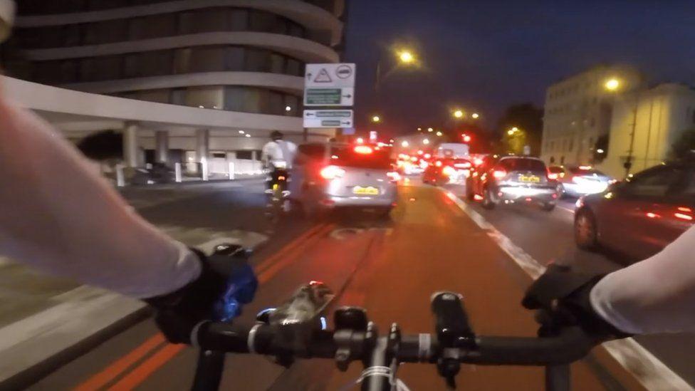 Cyclist helmet-camera footage