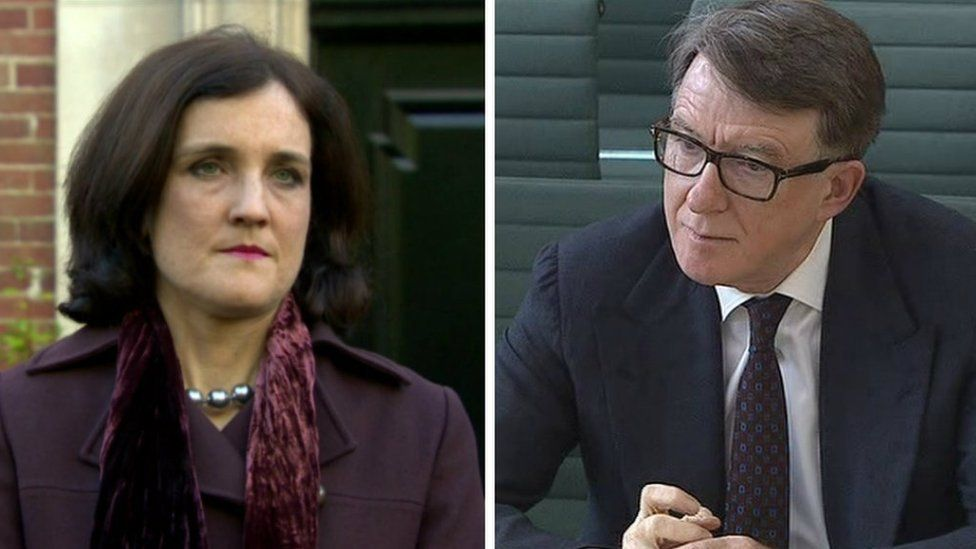 The current Northern Ireland Secretary of State Theresa Villiers and her predecessor Lord Mandelson