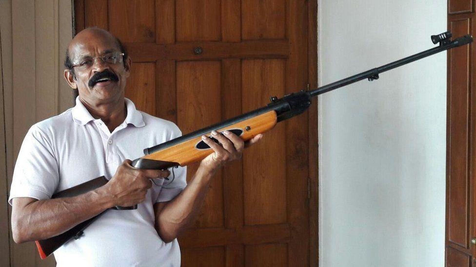 Jose Maveli with his airgun