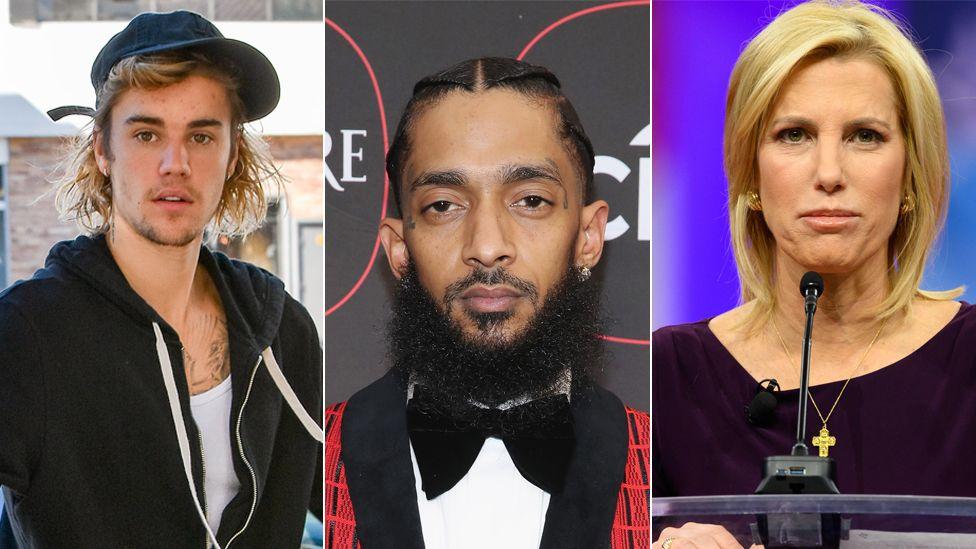 Justin Bieber, Nipsey Hussle and Laura Ingraham