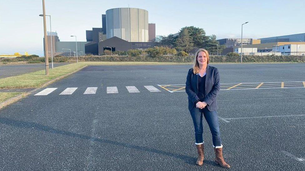 Virginia Crosbie at Wylfa site on Anglesey