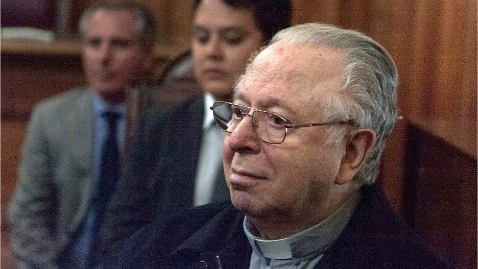 This file photo taken on 11 November 2015 shows Chilean priest Fernando Karadima appearing in court in Santiago
