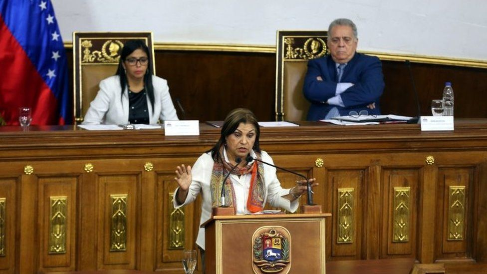Gladys Requena (C) speaking during a session of the National Constituent Assembly in Caracas, Venezuela, 29 August 2017.