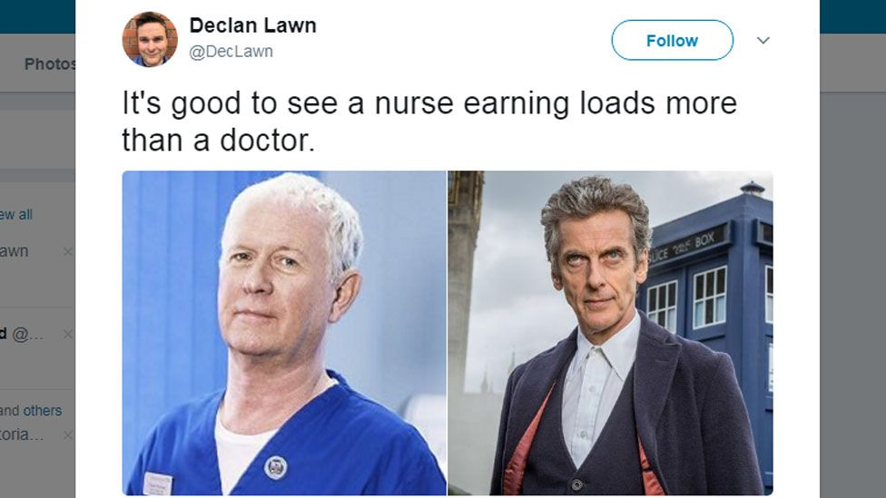 It's good to see a nurse earning loads more than a doctor