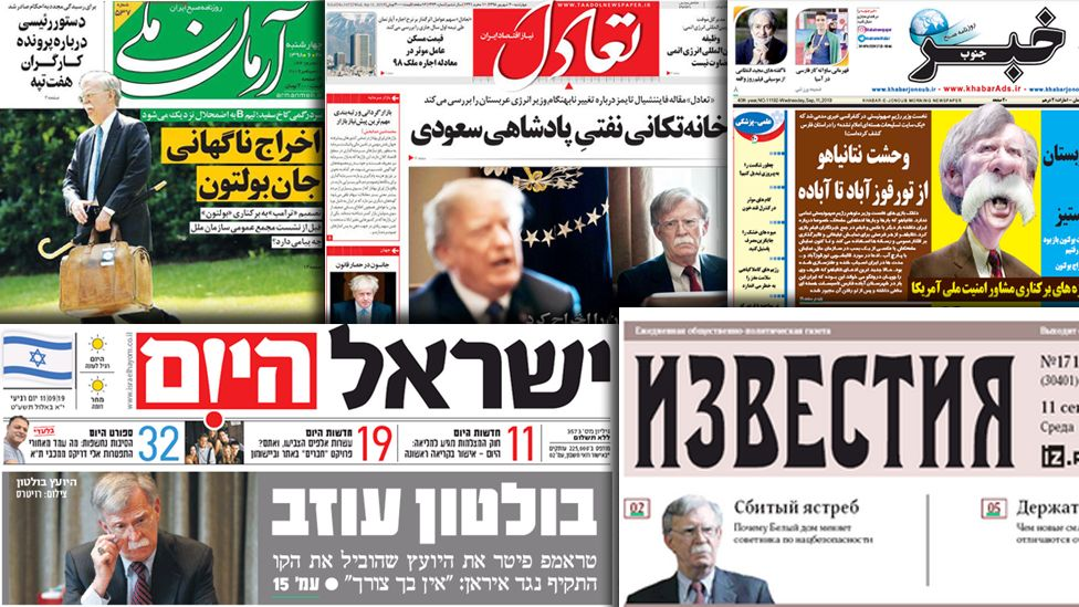A collage of world newspaper frontpages