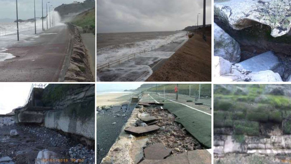 Damage on Old Colwyn sea front