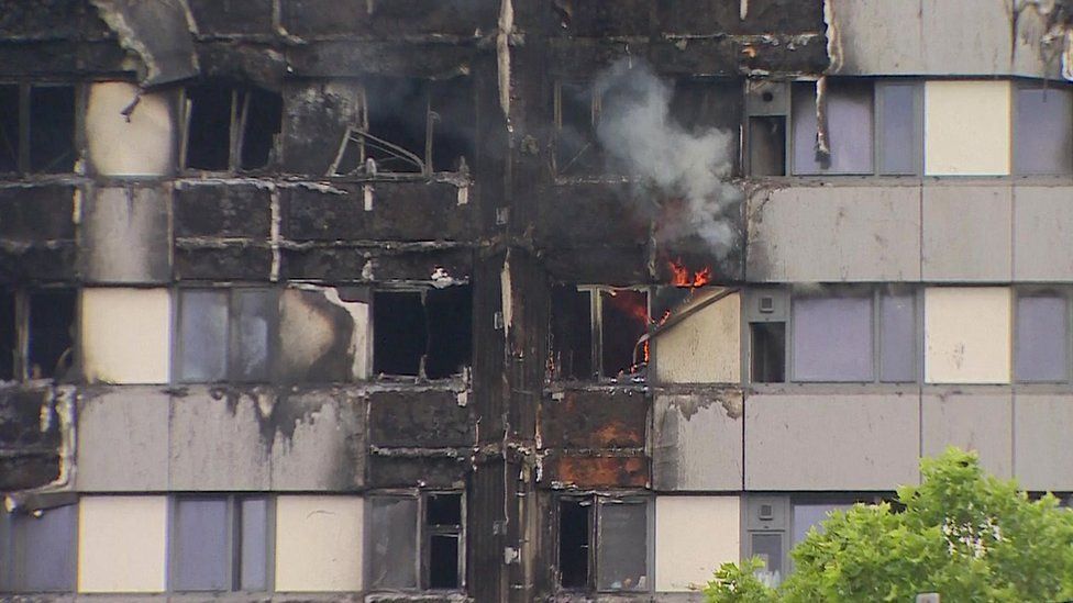 Flames coming from Grenfell Tower