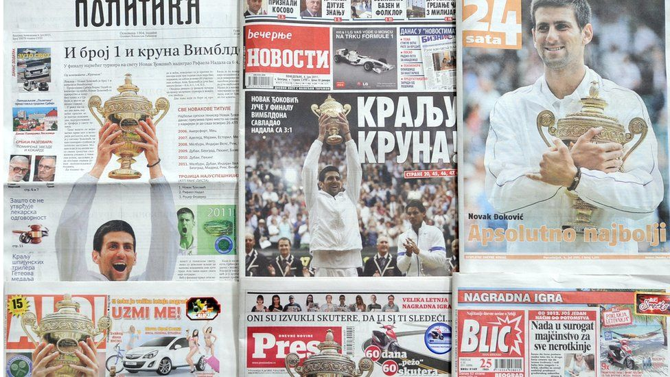 Serbian newspaper front pages