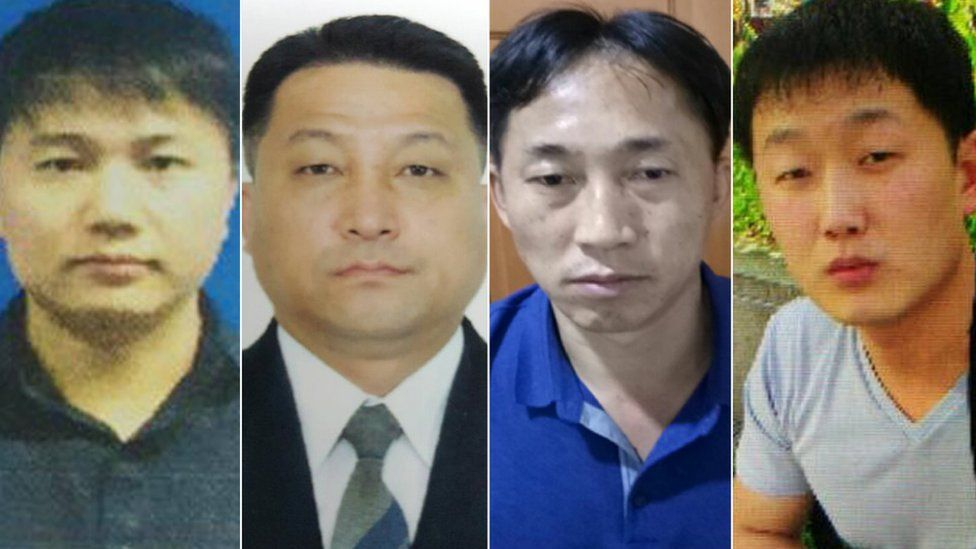 Faces of the four North Korean suspects