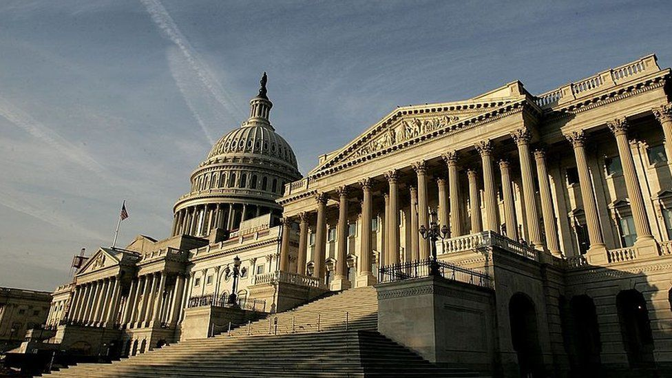 The exterior of the US Capitol.