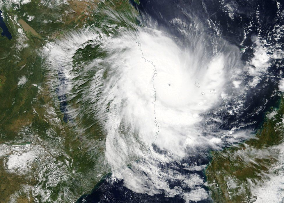 A satellite image of Cyclone Kenneth taken by Nasa shows its approach towards the coast of Mozambique