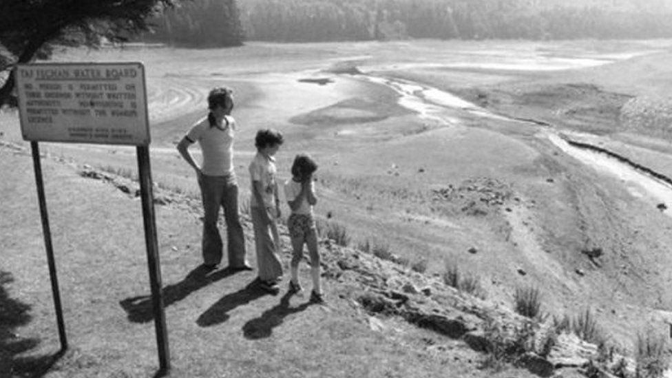 Cronfa Ddŵr Taf Fechan yn ystod haf poeth 1976