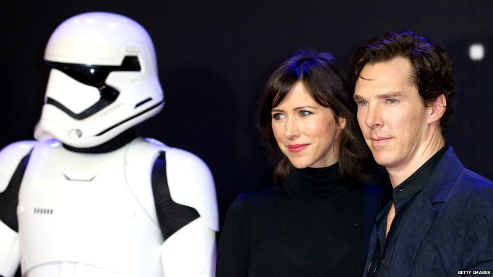 A stormtrooper, Sophie Hunter and Benedict Cumberbatch at the European premiere of Star Wars: The Force Awakens in December 2015