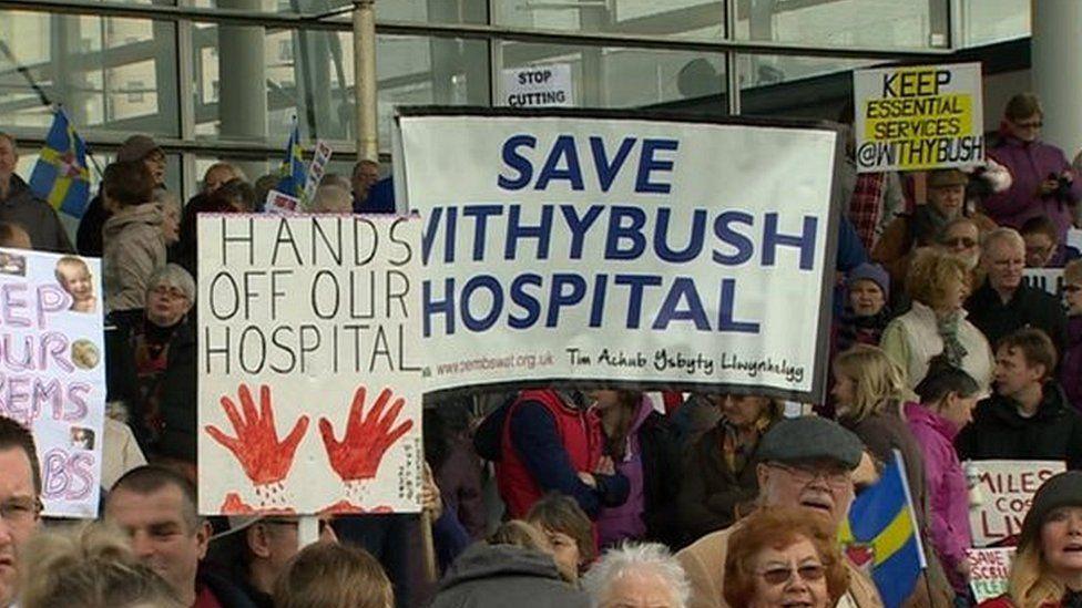 Withybush protestors at Senedd