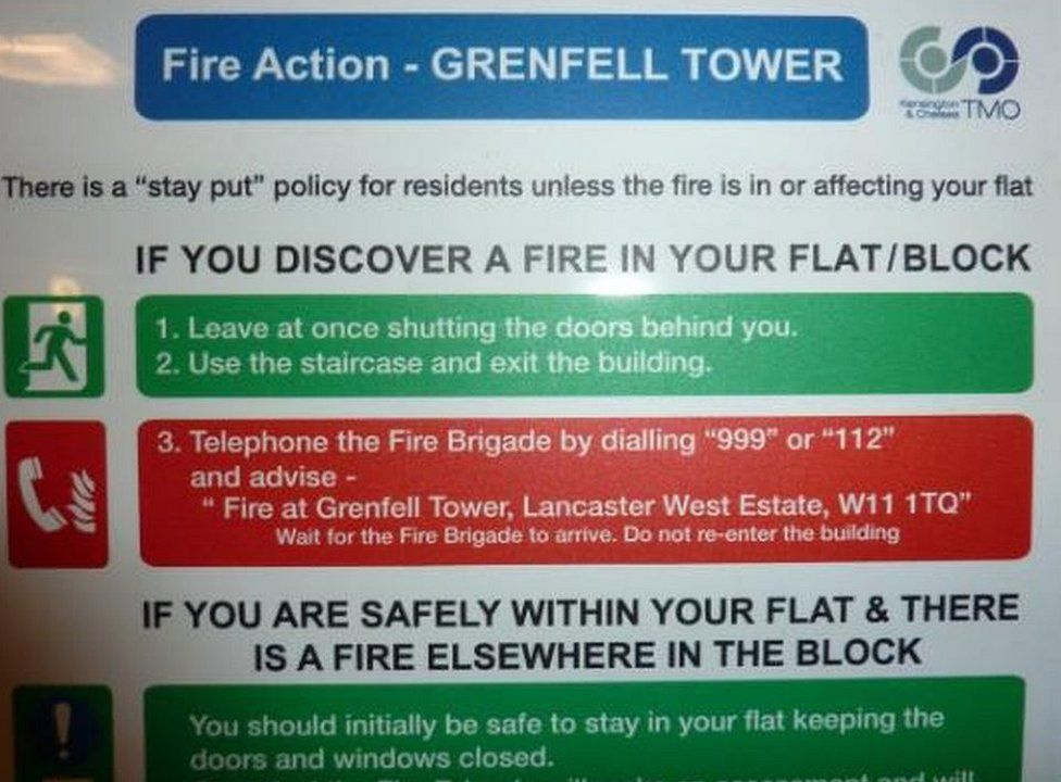 Fire sign from Grenfell lift