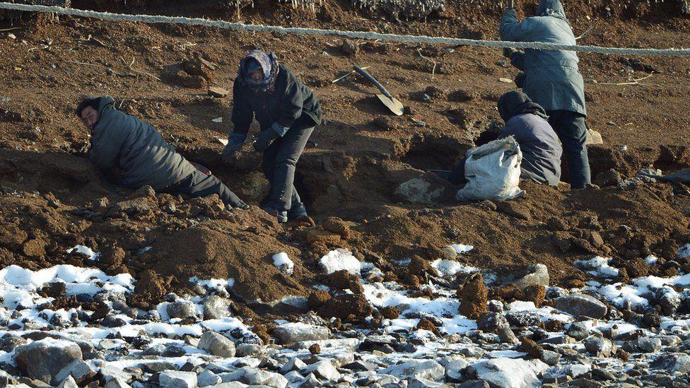 North Korean labourers in 2013