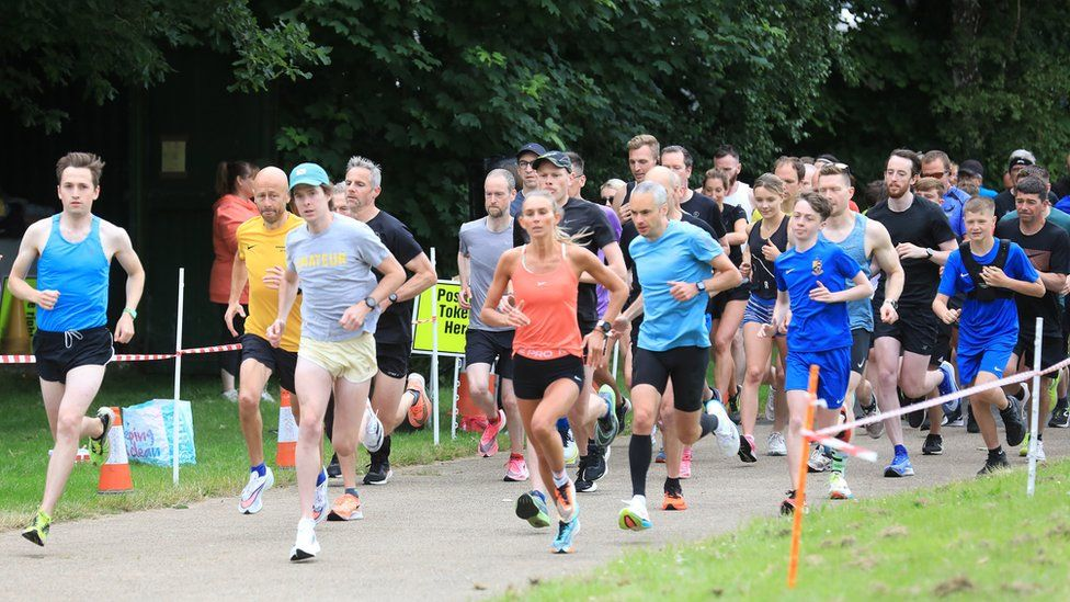 Runners at the Parkrun at Victoria Park in east Belfast after the events resumed in Northern Ireland last month