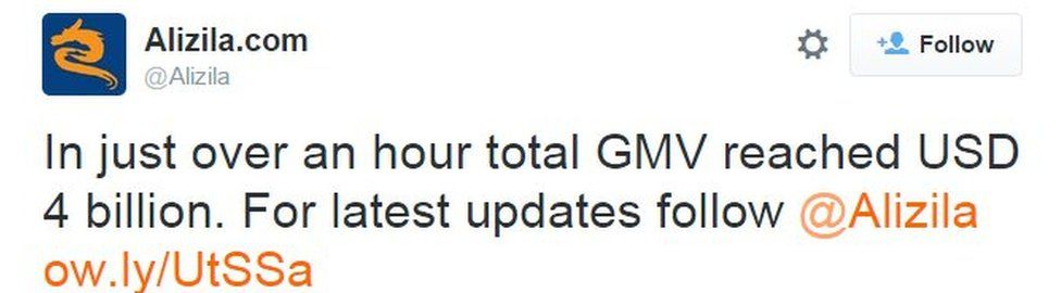 In just over an hour total GMV reached USD 4 billion. For the latest updates follow @Alizila ow.ly/UtSSa
