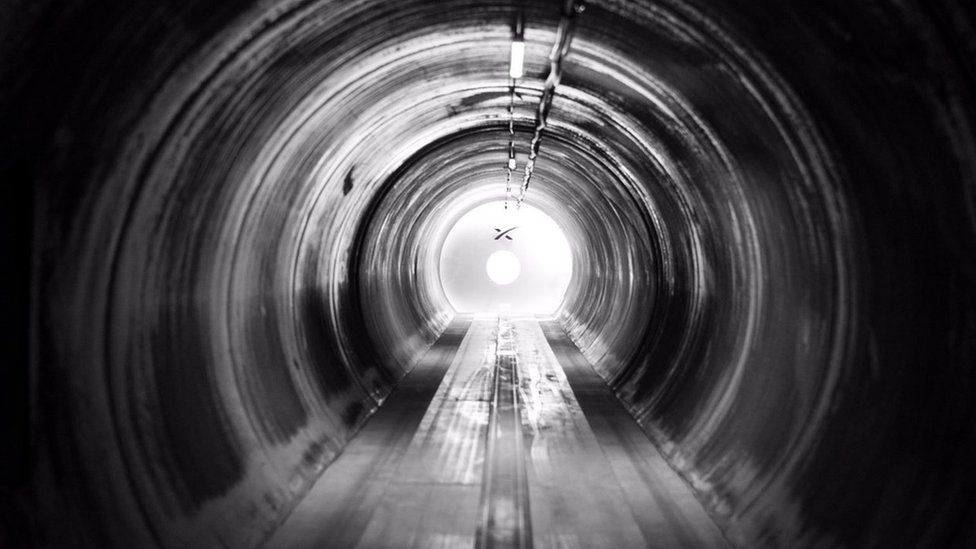 Inside of Hyperloop tunnel