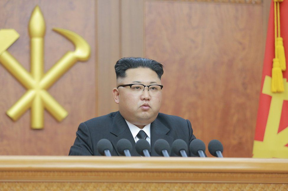 North Korean leader Kim Jong Un gives a New Year address for 2017 in this undated picture provided by KCNA in Pyongyang on 1 January 2017.