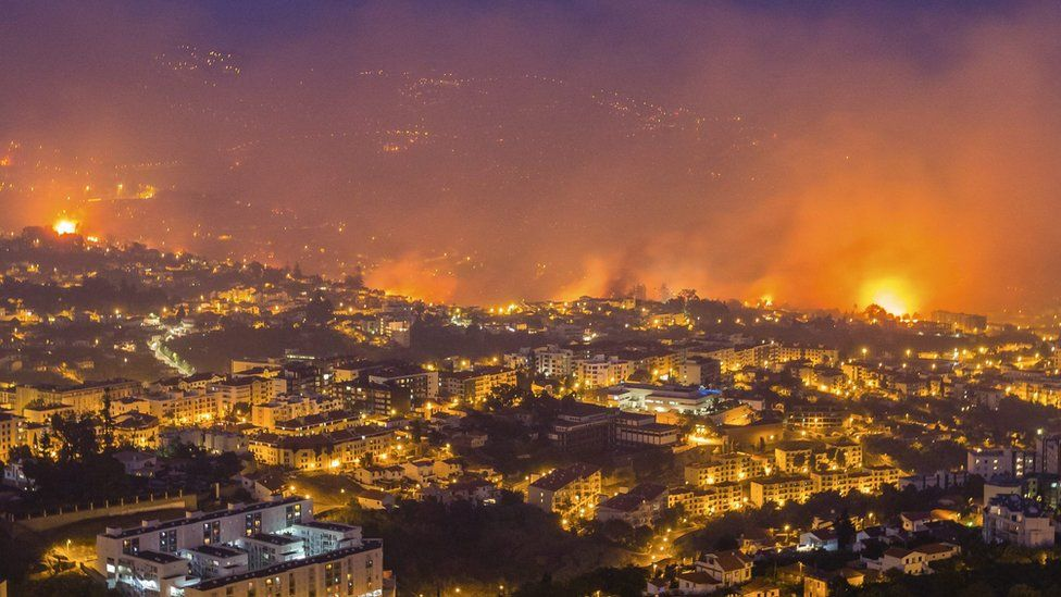 Forest fire in Funchal, Madeira Island, Portugal, 9 August 2016. The fire has led to the evacuation of 400 people