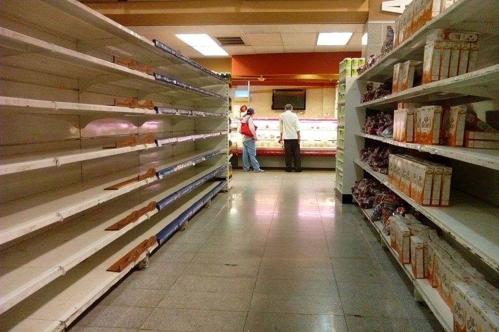 Bran cereal boxes were available in this Caracas supermarket in June