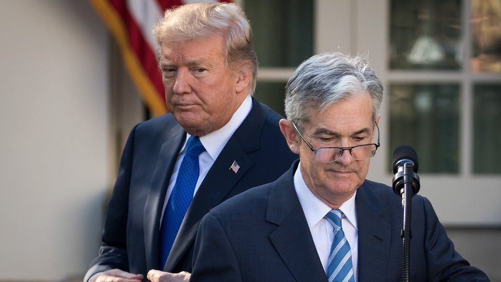 U.S. President Donald Trump looks on as his then nominee for the chairman of the Federal Reserve Jerome Powell takes to the podium during a press event in the Rose Garden at the White House, November 2, 2017 in Washington, DC.
