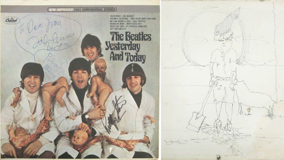 """The so-called """"butcher"""" cover of Yesterday And Today and John Lennon's sketch"""