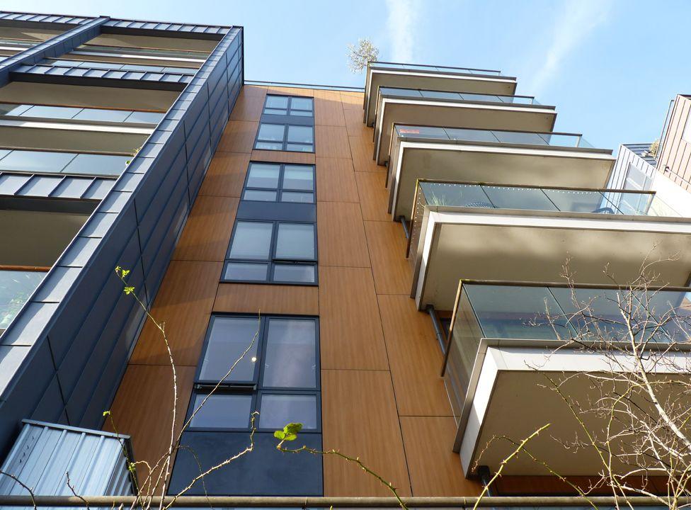The wood-effect cladding on De Beauvoir Wharf