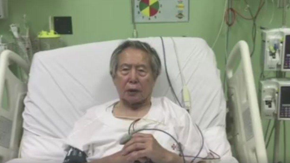 Screenshot of a video taken in hospital of Alberto Fujimori