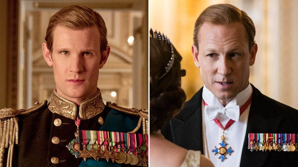 Matt Smith (left) and Tobias Menzies as Prince Philip in The Crown