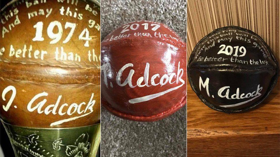 The winning balls of John, Thomas and Michael Adcock