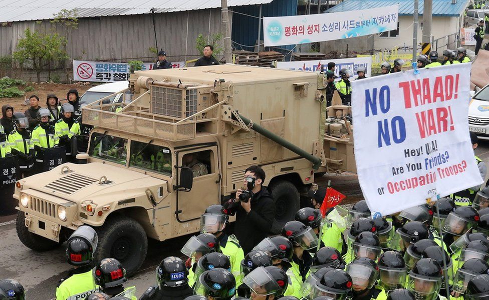 A U.S. military vehicle which is a part of Terminal High Altitude Area Defense (THAAD) system arrives in Seongju, South Korea, 26 April 2017.