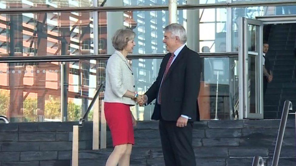 Theresa May meets Carwyn Jones at visit to Cardiff Bay