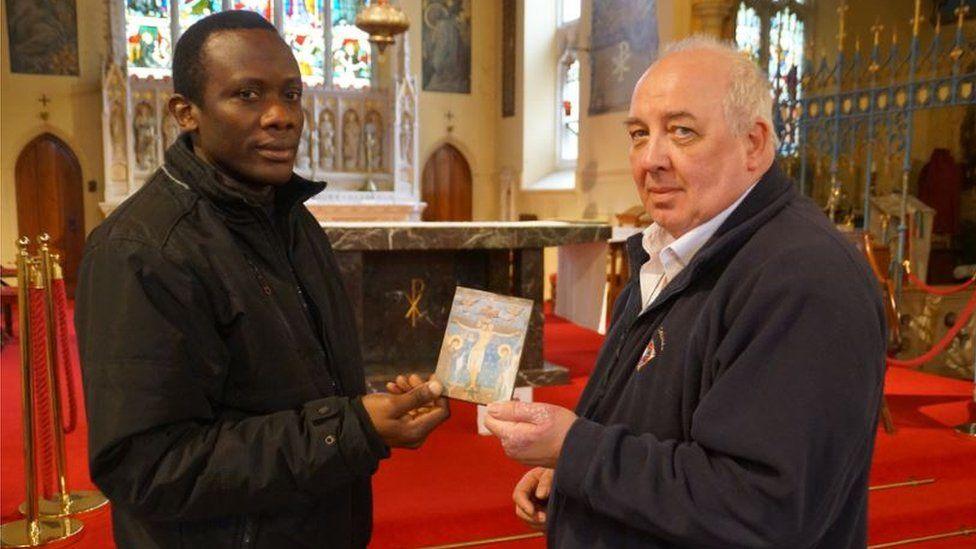 Fr Anthony Nwankwo with parishioner Brian Lafferty