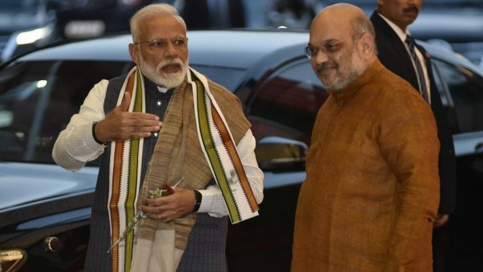 Indian Prime Minister Narendra Modi (L), with Bharatiya Janata Party (BJP) President Amit Shah as he arrives at BJP headquarter to attend the central election commitee meeting to discuss key issues about selection of candidates for the upcoming general elections, in New Delhi, India, 16 March 2019