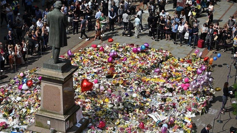 Tributes to Manchester Arena attack victims in St Ann's Square
