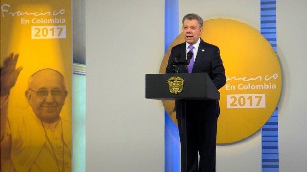 Colombian President Juan Manuel Santos talks about the agreed ceasefire. Photo: 4 September 2017
