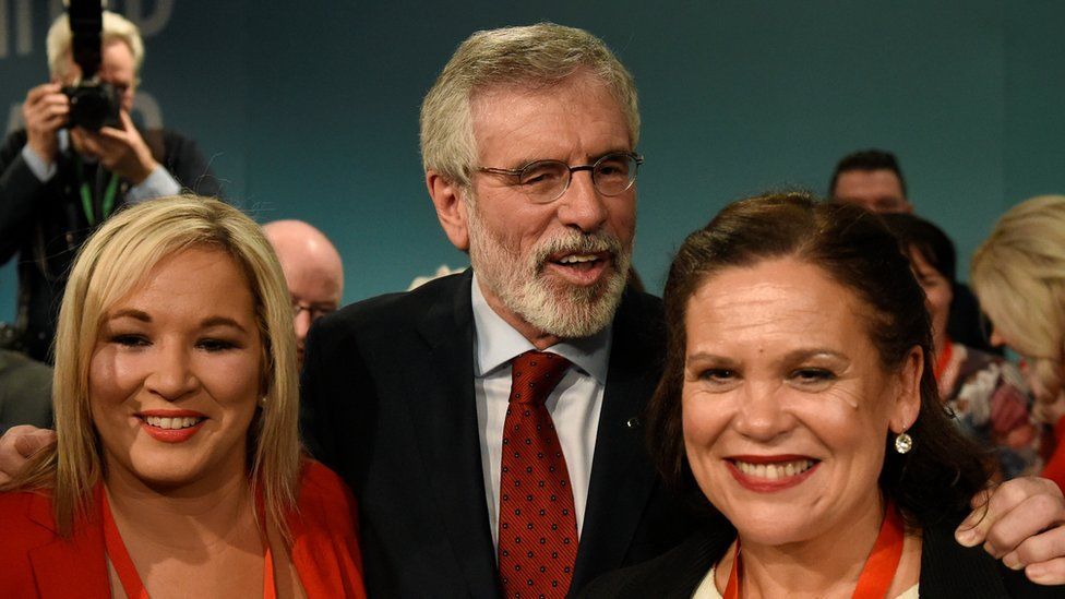 Michelle O'Neill, Gerry Adams and Mary Lou McDonald